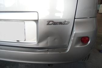 小破 デミオ後部事故修理BEFORE画像